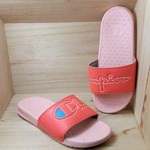 Champion Womens Orange Pink Slides Sandals